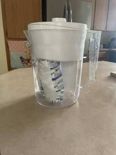 Brita Large 10 Cup Grand Water Pitcher with Filter BPA Free White