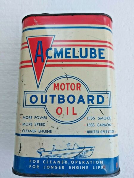 Vintage Rare Empty Acme Refining Co Acmelube Outboard Motor Oil Tin Can 1 Quart $170.00