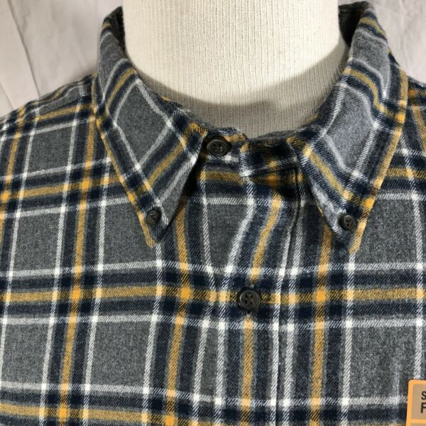 The Foundry Supply Flannel Mens Button Down Shirt 3XLT Heather Gold Plaid