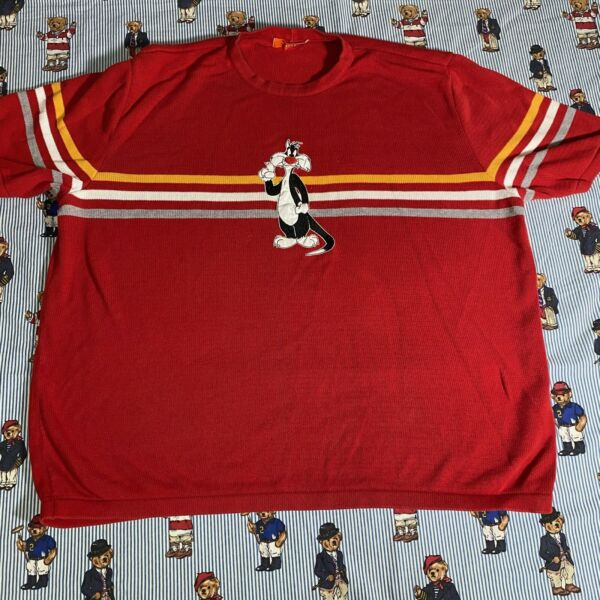 Vintage History Iceberg Sylvester Striped Short Sleeve Sweater Red Knit Cotton $75.00
