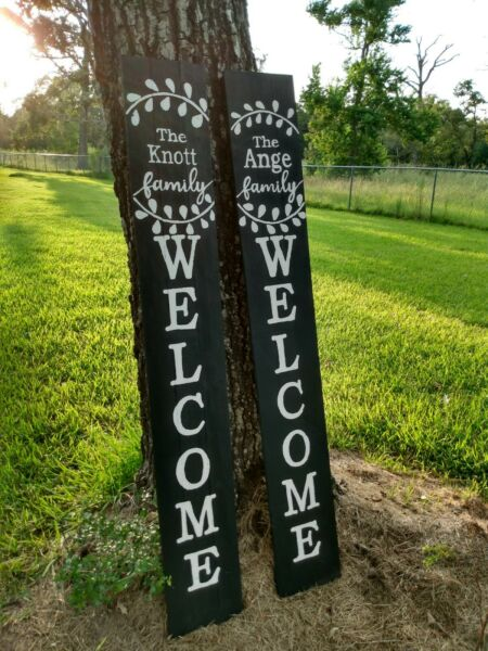 Large Wood Porch Sign Last Name WELCOME Farmhouse Custom 5 FT