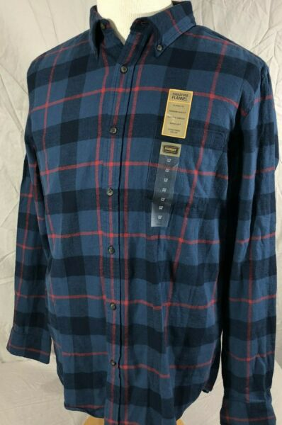 The Foundry Supply Flannel Men#x27;s Button Down Shirt Large Tall Blue Red Plaid