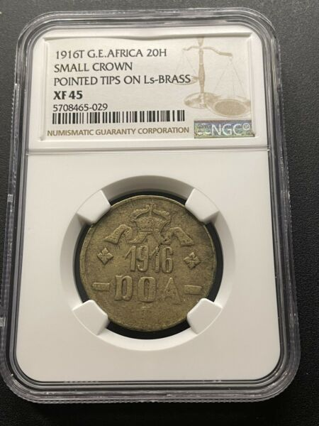German East Africa 20 Heller 1916 T Small Crown Pointed tips Brass NGC XF 45