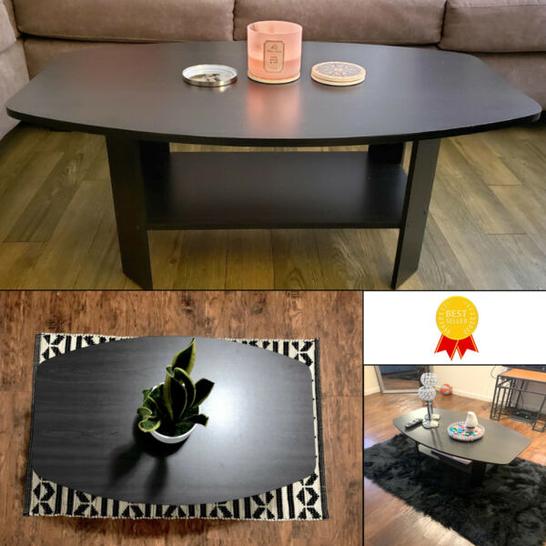 Coffee Table Oval Shape Wooden Living Room Table with Shelf Modern Design
