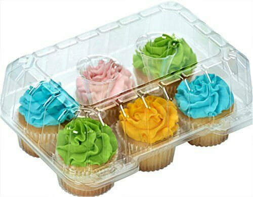 Cupcake Containers Plastic Disposable clear cupcake boxes carrier containers