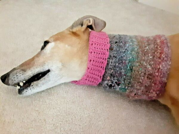 Greyhound Dog Pink Multi Snood 2 Cover Neck **100% Donation 2 Cure K9 Cancer $8.95