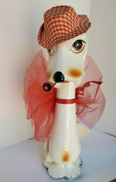 Vintage I.W.RICE 11quot; Ceramic Dog Cloth Hat Pipe amp; Potpourri In a Bow Japan $11.00