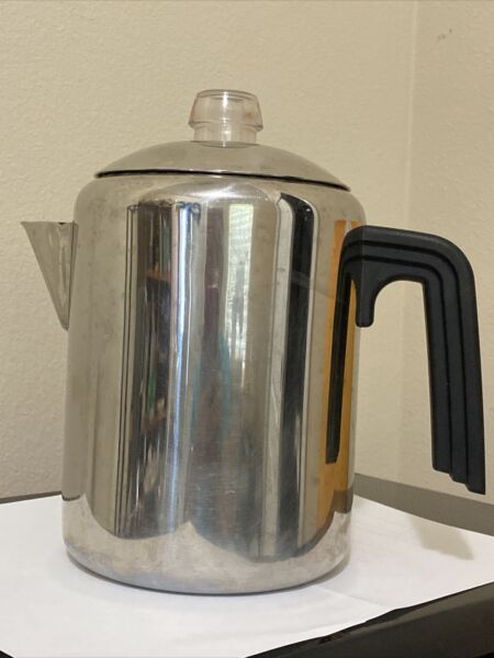 Farberware Percolator Stovetop Coffee Pot 8 Cup Stainless Steel Glass Knob Camp