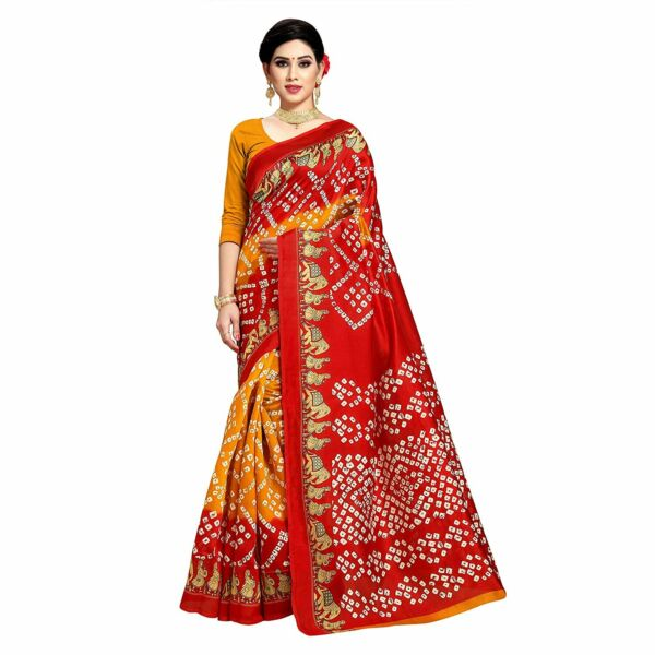 Women's bhagalpuri Silk Bandhni Printed Saree with Blouse Piece for casual wear $16.62