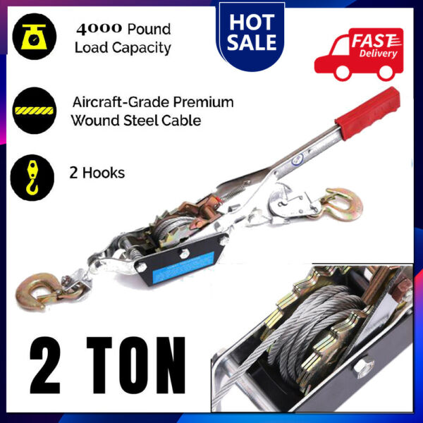 2 Ton Gear Hand Cable Puller Car Trailer Tow Hooks 4000 lbs Come along tighter $27.56