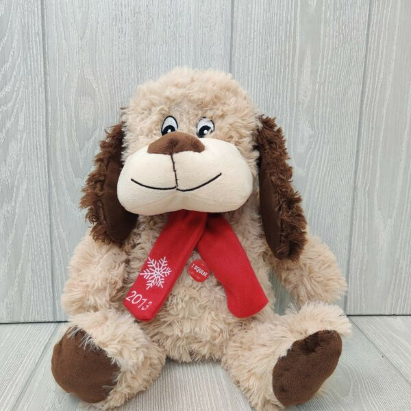 2013 PetSmart tan shaggy dog Chance toy plush squeaks red scarf snowflake NWOT $8.00
