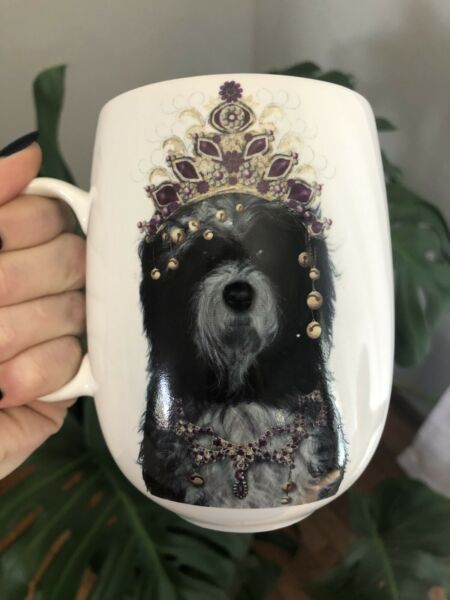 Large Funky Luxury Queen Jeweled Labradoodle Dog Unique Coffee or Tea Mug NWOT $13.00