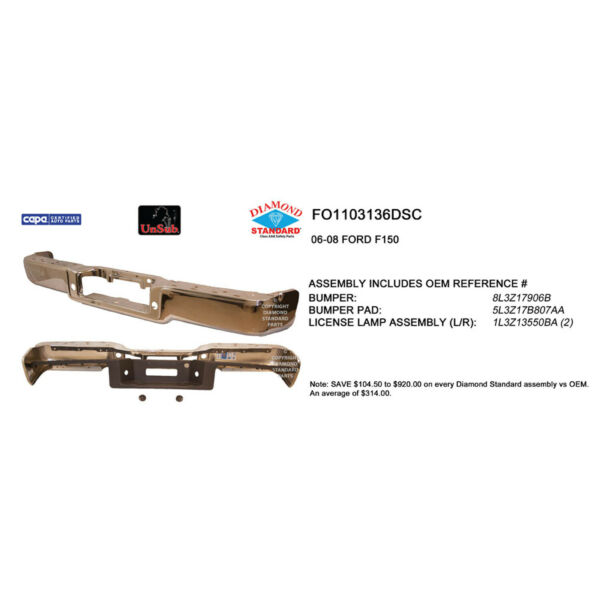 FO1103136DSC New Replacement Rear Step Bumper Assem Fits Styleside Hitch Style $523.56