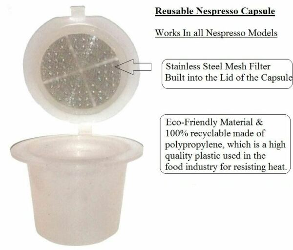 2X EMOHOME NESPRESSO REFILLABLE REUSABLE PLASTIC CAPSULE WITH STEEL MESH FILTER