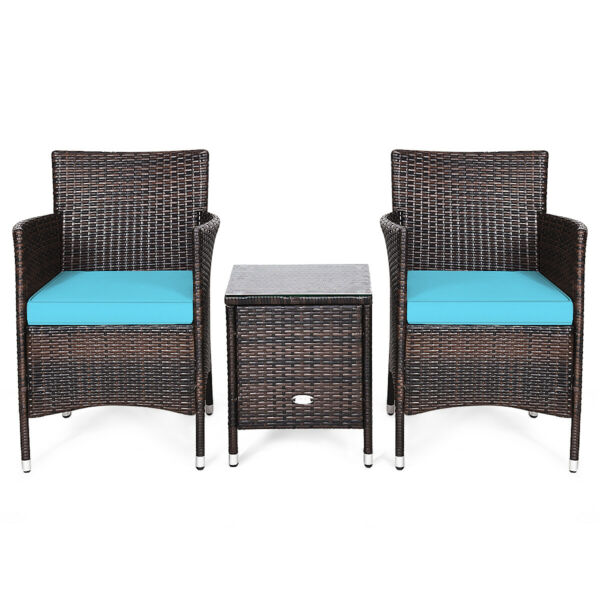 Patiojoy 3 PCS Outdoor Rattan Furniture Sets Rest Sofa Chairs Coffee Table Blue