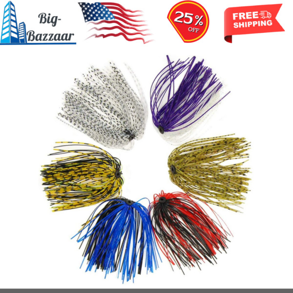 24 Bundles Silicone Jig Skirts Diy for Rubber Fishing Bass Jig Lures 50 Strands $13.80