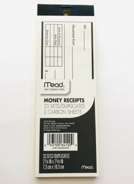 New Mead Money Receipts Book Pad 33 Sets with 2 Carbon Sheets Written Receipts $3.89