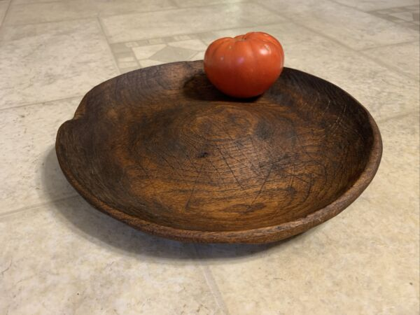 Early 18th century Treenware Dish Good Dry Surface W Rich Color amp; Unusual Form