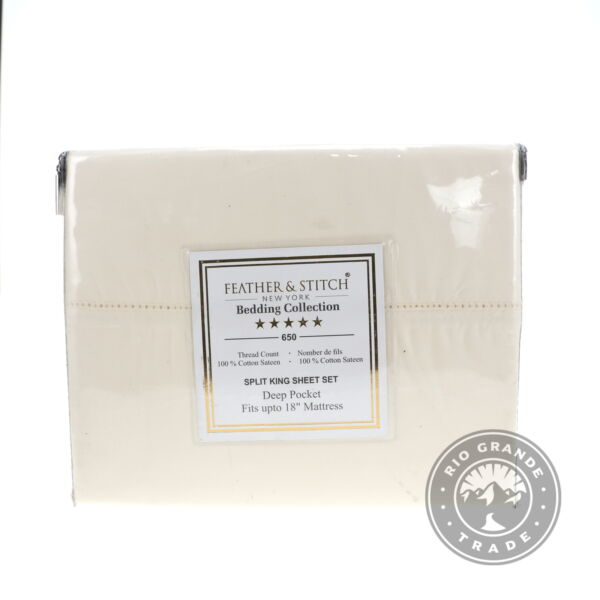 OPEN BOX FEATHER amp; STITCH NEW YORK 5 Piece Sheet Set in Ivory Cotton King $75.04