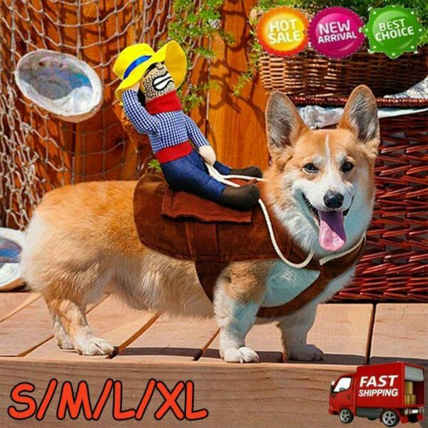 Funny Riding Horse Cowboy Pet Dog Costumes Puppy Halloween Party Costume Clothes $10.33