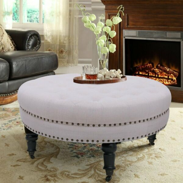 34quot; Ottoman Moveable Tufted Round Bench Cocktail Stool Footrest Coffee Table