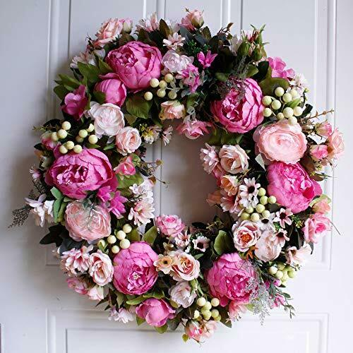 """Wreath 22"""" Peony: Large Rustic Farmhouse Decorative 22 Inches Pink"""