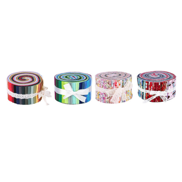 Colorful Roll Up Fabric Strips Sewing DIY Floral Printed Precut Craft Fabric