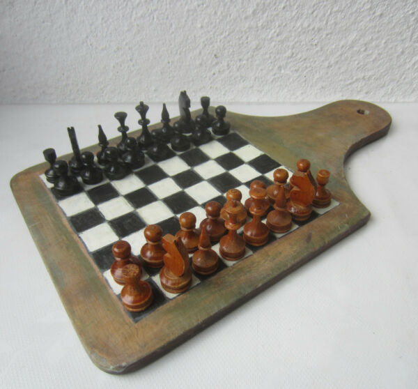 Antique kitchen board chess board with set wooden pieces figures handmade