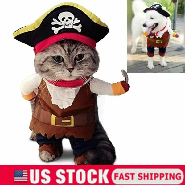 Funny Cat Captain Pirates Pet Dog Costumes Puppy Halloween Party Costume Clothes $10.06