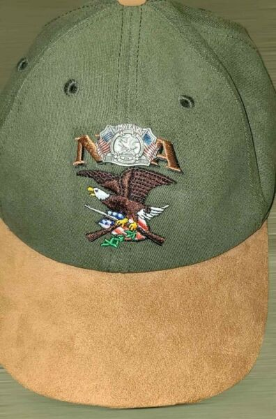 Vintage 125 Anniversary 1996 NRA hat. Olive green and tan leather. $20.00