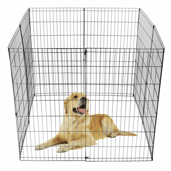42#x27;#x27; Pet Puppy Playpen Dog Crate Fence 8 Panel Exercise Fence Kennel Durable $56.99