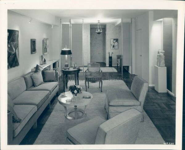 1967 Press Photo Couch Chairs Coffee Table Lamp Chandelier Frames Vintage Image