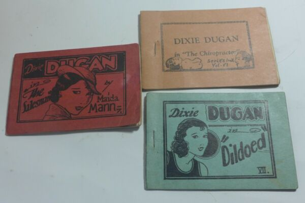 3 Vintage Tijuana Bible SIngle Sided Dixie Dugan Chiropractor Dildoed 8 pagers