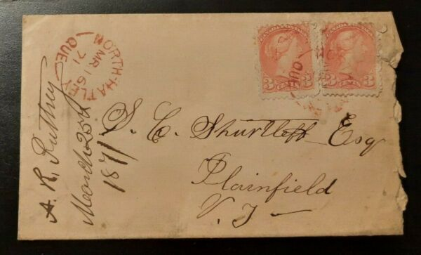 1871 Letter Cover North Hatley Quebec Canada Plainfield Vermont