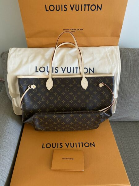 BRAND NEW Authentic Louis Vuitton Neverfull MM Monogram Tote ONLY Cherry Red $1600.00