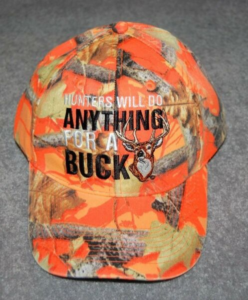 ADULTS ORANGE CAMO BUCK HUNTING CAP HAT ADUSTABLE ONE SIZE FITS MOST