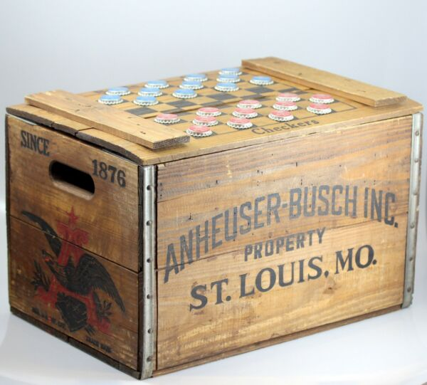 VTG Anheuser Busch Budweiser Wooden Beer Crate w Checkers Lid amp; 24 Bottle Caps