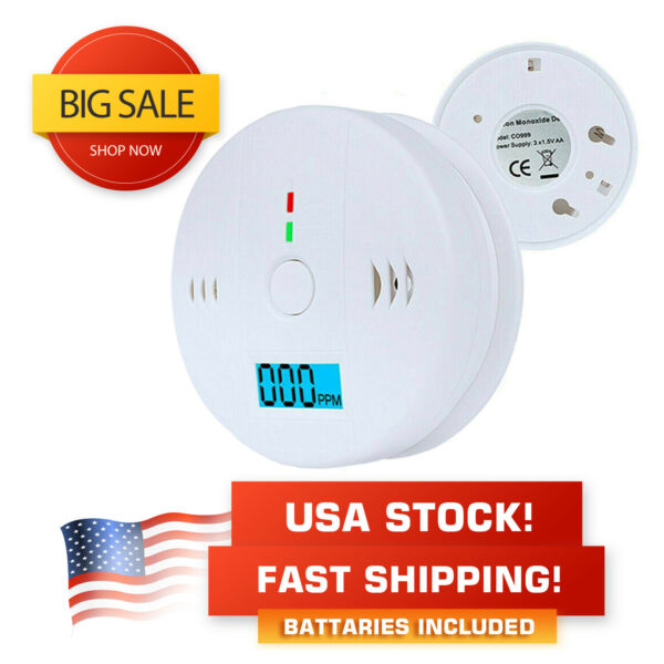 CO Carbon Monoxide Detector Alarm Battery Operated LCD with Batteries $9.99