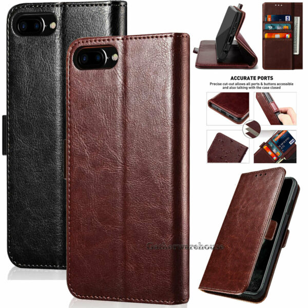 For iPhone 8 Plus 6 6s 7 Stand Leather Flip Card Holder Phone Folio Case Cover