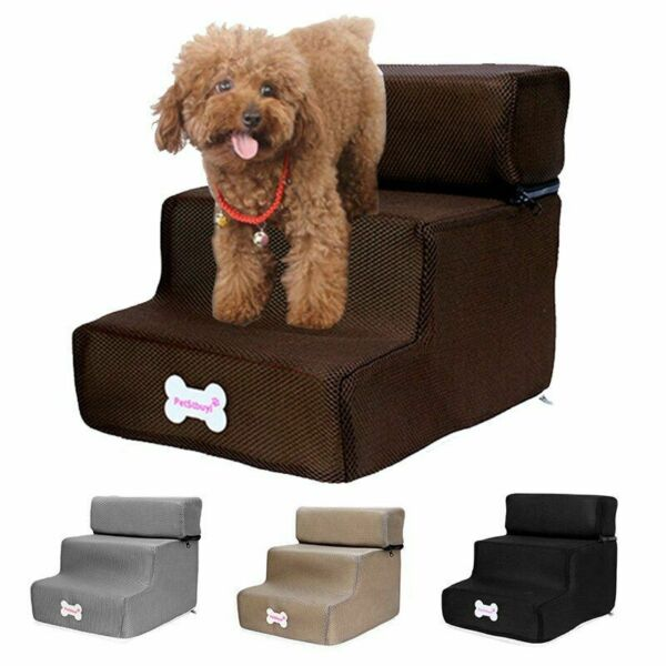 Dog Stairs Three Two Steps Non Slip Removable Cover Soft Ramp Small Puppy House $21.21