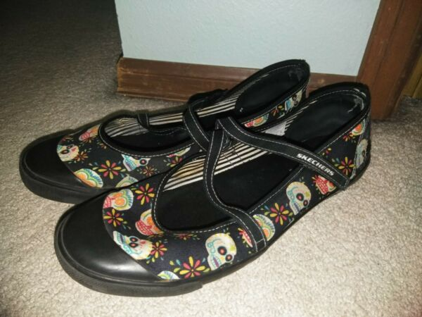 Women#x27;s Skechers Cali Black Day of the Dead Sugar Skull Mary Jane Flats Shoes 11