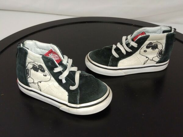 Vans Off Wall Peanuts Snoopy Shoes Toddler 7 White Black Lace Up Sneakers S4 $21.99