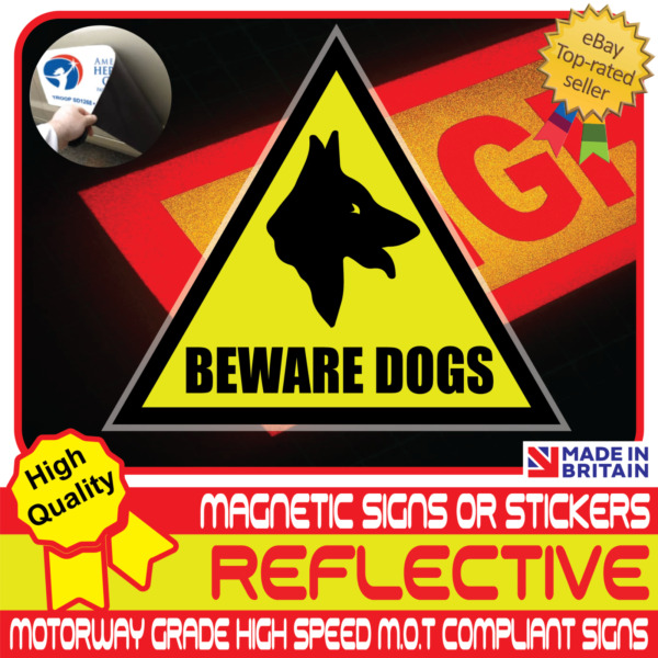 Beware Dogs Car Van Reflective Yellow Magnetic Sign or Vehicle Sticker High Vis GBP 9.99