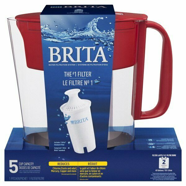 Brita Water Filtration Pitcher 5 Cup Capacity Red