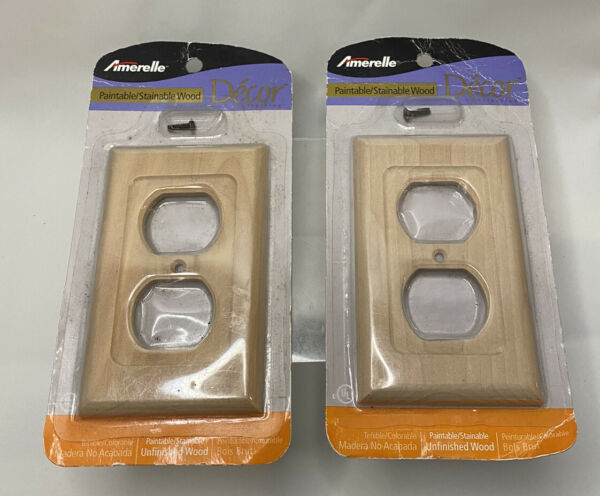 Lot of 2 Amerlle Paintable Stainable Decor Unfinished Wood Switch Outlet C182D $12.99