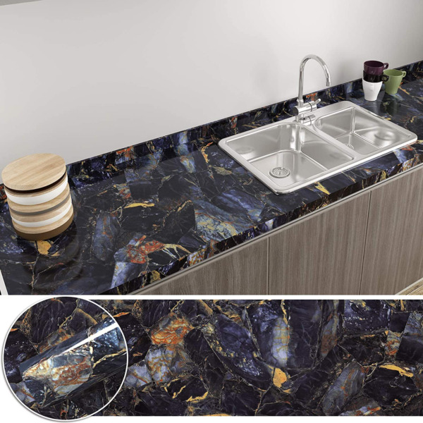 CHICHOME Blue Marble Contact Paper for Countertops Waterproof Marble Wallpaper 1