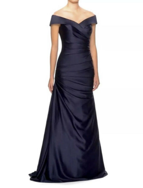 New LA FEMME Off the Shoulder Ruched Satin Trumpet Gown In Navy Size 14 $418 $139.97