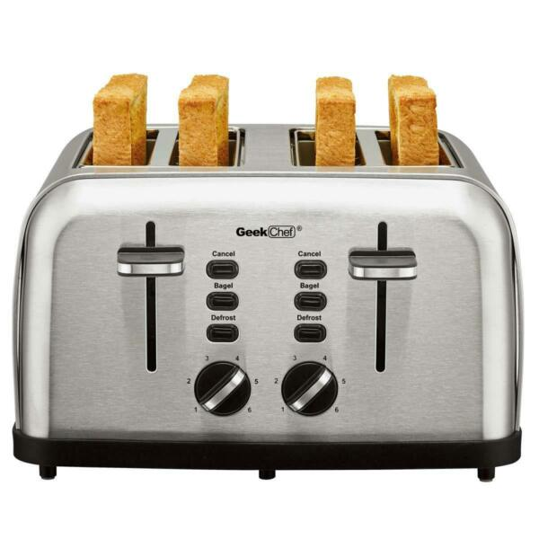 Geek Chef 4 Slice Toaster Stainless Steel Extra Wide Slot Toaster Auto Pop up