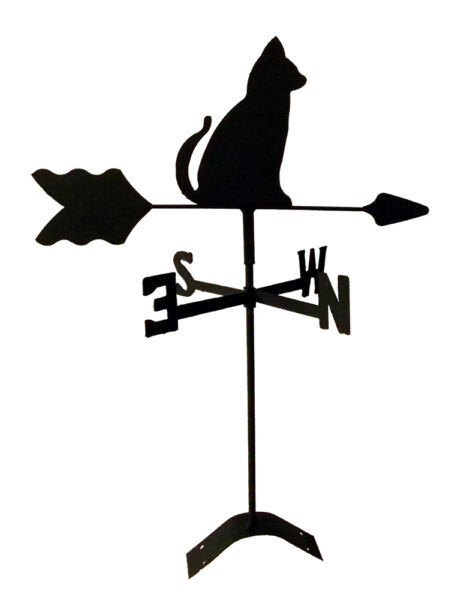 sitting cat roof mount weathervane black wrought iron look made in usa TLS1007R $24.99