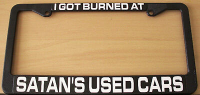 SATANS USED CARS LICENSE PLATE FRAME RAT ROD GASSER HOT